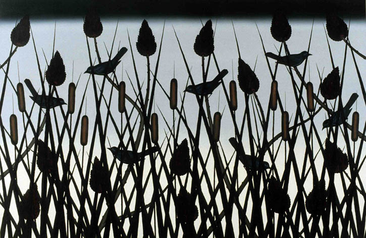 "Figure 24. Roger Brown, Black Birds and Sumacs, 1981, o/c, 48"" x 72"""