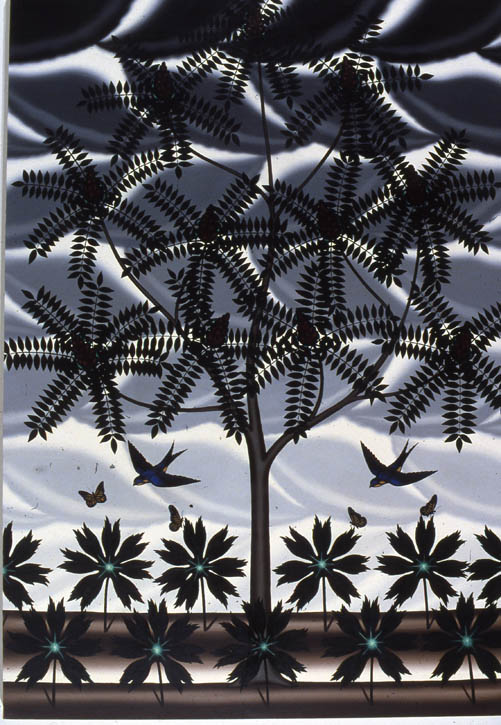 "Figure 25. Roger Brown, Staghorn Sumac (with Mayapples, Barn Swallows, and Monarchs), 1981, o/c, 96"" x 65"""