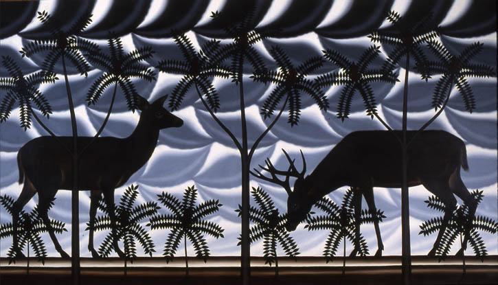 "Figure 27. Roger Brown, Whitetail Deer, Staghorn Sumac, 1981, o/c, 78"" x 144"""