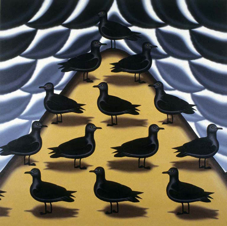 "Figure 30. Roger Brown, Seagulls on a Sand Dune, 1985, oil on canvas, 72"" x 72"""