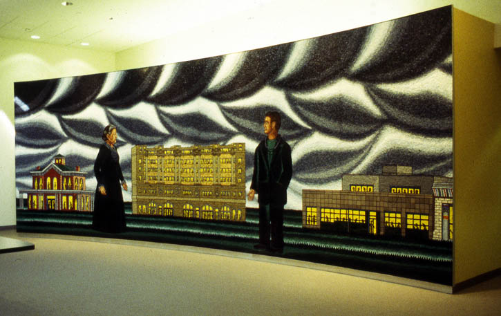 Figure 4. Roger Brown, Hull House, Cook County, Howard Brown: A Tradition of Helping,  1997, Italian glass mosaic, 10 ft. x 27 ft.