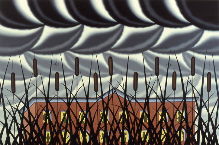 "Figure 4. Roger Brown, American Bridge Company - A View From the Toll Road, 1981, o/c, 48"" x 72"""