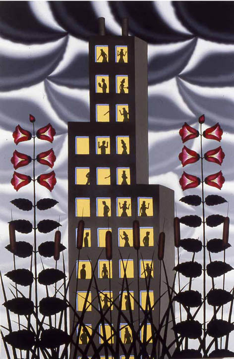 "Figure 5. Roger Brown, Swamp Rose Mallow: A View From Afar, 1980, o/c, 72"" x 48"""