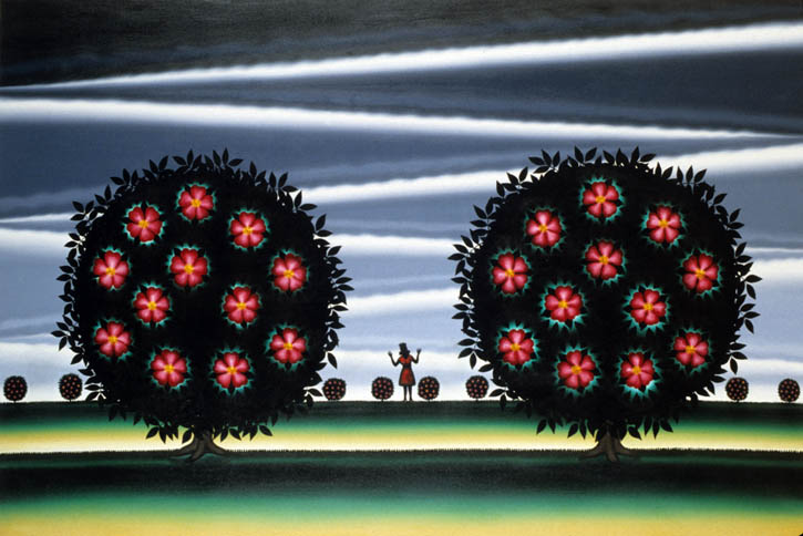 Figure 5. Roger Brown, The Rose Garden (Rosa Rugosa Rubra), 1993, oil on canvas, 48 in. x72 in.