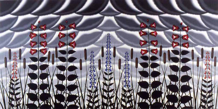 "Figure 6. Roger Brown, Celebration of the Uncultivated A Garden of the Wild, 1980, o/c, 59 7/8"" x 120"". Montgomery Museum of Fine Arts, AL"