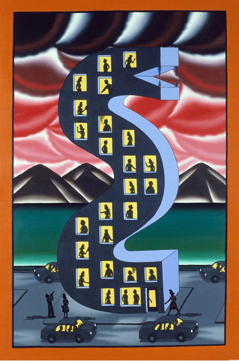 Figure 6. Roger Brown, Snake Charmer, 1990, oil on canvas, 72 in. x 48 in.