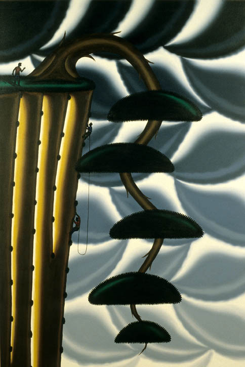 Figure 71. Roger Brown, Bonsai #2, Climbing with the Cascade (Kengai), 1997, oil on canvas, 72 in. x 48 in.