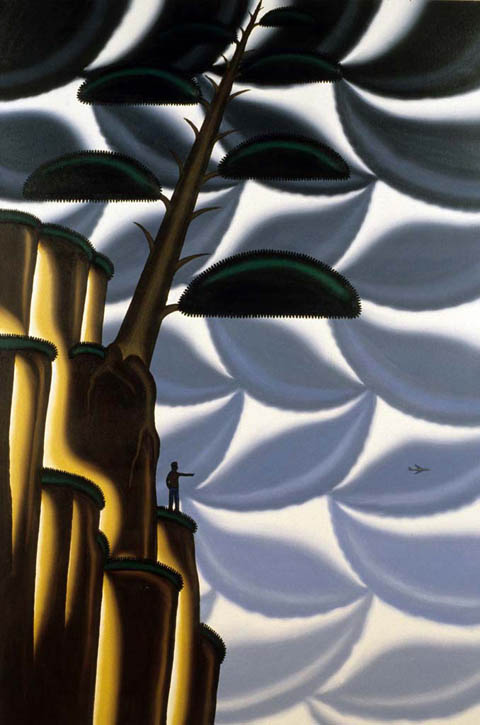 Figure 72. Roger Brown, Bonsai #3, Ishitsuki, Root Over Rock, 1997, oil on canvas, 72 in. x 48 in.