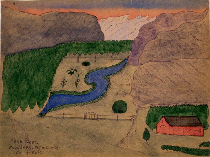 Figure 7. Joseph Elmer Yoakum, Kern Creek. Escadero. Kern County California, c. 1965, Black ballpoint pen and colored chalks on manila wove paper, 8 7/8 in. x 12 7/8 in.  Roger Brown Study Collection.