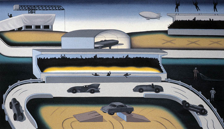 Figure 8. Roger Brown, A Sunday Afternoon at the Grand Slam, 1972, oil on canvas, 45 in. x 78 in.