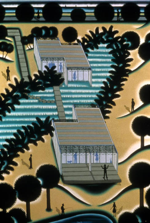 "Figure 8. Roger Brown, My House in the Dunes, 1982, oil on canvas, 48"" x 72"".  SAIC Roger Brown Estate"