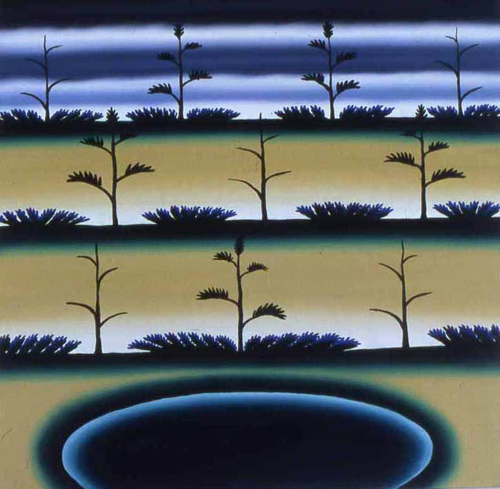 "Figure 9. Roger Brown, Interdunal Pond with Jack Pines and Juniper, 1983, 24"" x 24"""